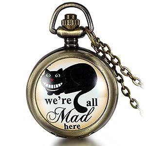 JewelryWe Herren Damen Taschenuhr, We're All mad here Schwarze grinsende Katze Uhr Anhänger Analog Quarz Kettenuhr Pullover Halskette Kette