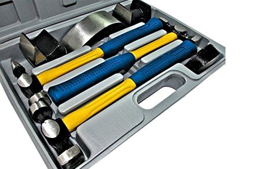 Kit carrozziere martelli tassi riparazione auto valigetta, 7 pezzi