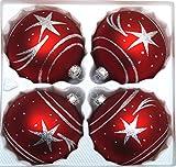 """4 tlg. Glas-Weihnachtskugeln Set 10cm Ø in """"Classic Rot Silber"""" Komet- Christbaumkugeln - Weihnachtsschmuck-Christbaumschmuck 10cm Durchmesser"""