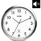 ONETIME MNU 3300 Weiße Funkwanduhr aus Aluminium mit lautlosem Sweep Uhrwerk 12 Zoll (Ø) 30,5 cm