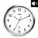 ONETIME MNU 3300 Weiße Funkwanduhr aus Aluminium mit lautlosem Sweep Uhrwerk 12 Zoll () 30,5 cm