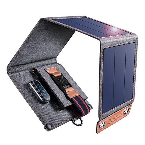 Cargador Solar Choetech 14 W Portátil Ligero Panel Solar Cargador Solar USB 4 paneles monocristalinos de alto rendimiento que se pliegan en un formato compacto y portátil, todos con un clip que se coloca fácilmente en su bolso o en el mejor lugar don...