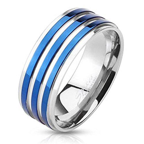 Paula & Fritz® Ring aus Edelstahl Chirurgenstahl 316L silber 8mm breit silber und blau gereift verfügbare Ringgrößen 60 (19) – 69 (22) R-M3678