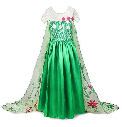 JerrisApparel Mädchen Prinzessin Karneval Verkleidung Party Kleid Kostüm (140, grün) (Prinzessin Glitter Kostüme)