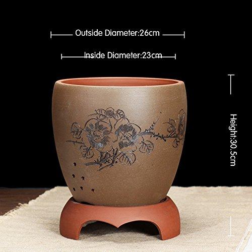 Nclon Boutique Yixing Argile pourpre Pot de fleur,Les orchidées Bassin Clivia Plantes en pots Bonsaï [style chinois] Indoor Tray Durable-b-Gros