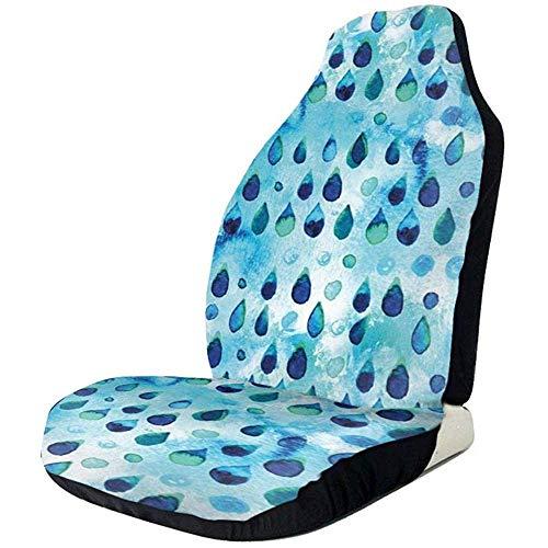 Be-ryl-cars seat covers coprisedili per auto sedile anteriore e posteriore in poliestere stampato a goccia blu a pioggia di dimensioni standard2 pc