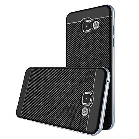 Samsung Galaxy A5 2016 Hülle , ivencase Prämie Hybride Anti-Kratz Rahmen Bumper Dual-Layer Stoßfest Kohlefaser Schutzhülle für Samsung Galaxy A5 (2016)