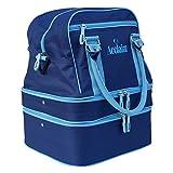 Borsone in nylon, colore blu/azzurro, con 3 scomparti separati, per trasportare 4 bocce o palle da bowling, Navy/Sky