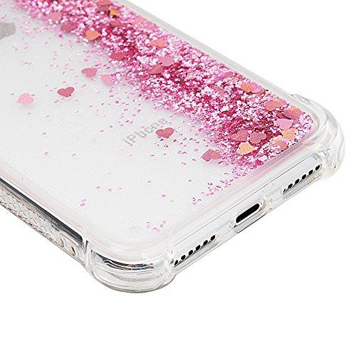 iPhone X Cover Silicone e Bling Glitter Brillanti, Custodia Morbida TPU Flessibile Gomma QuickSand - MAXFE.CO Case Ultra Sottile Cassa Protettiva per iPhone X - Argento Oro Rosa