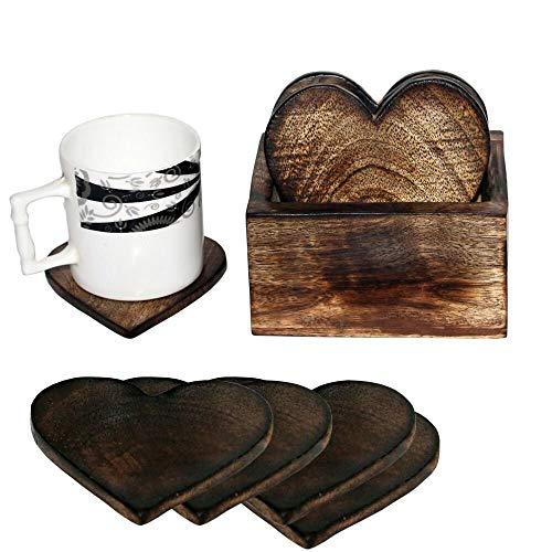 Holzuntersetzer Set mit 6 Untersetzern in Herzform, mit Halterung, für Tee- und Kaffeetassen, Becher, Getränke, Glas -