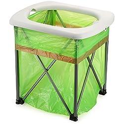 Lixada Portátil Plegable WC Ligero Cómodo Asiento de Inodoro Silla para Camping Senderismo Viajes