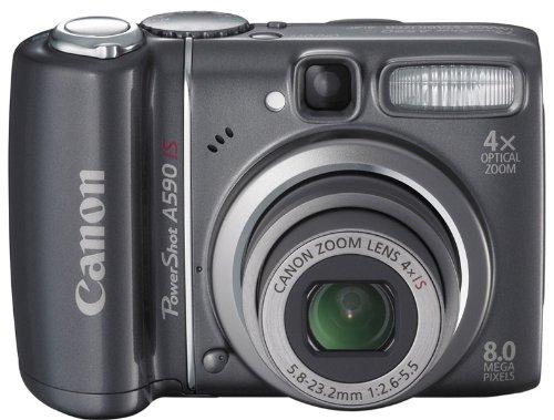 Canon PowerShot A590 IS Digitalkamera (8 Megapixel, 4-fach opt. Zoom, 6,4 cm (2,5 Zoll) Display, Bildstabilisator) schwarz Canon Powershot 8 Mp