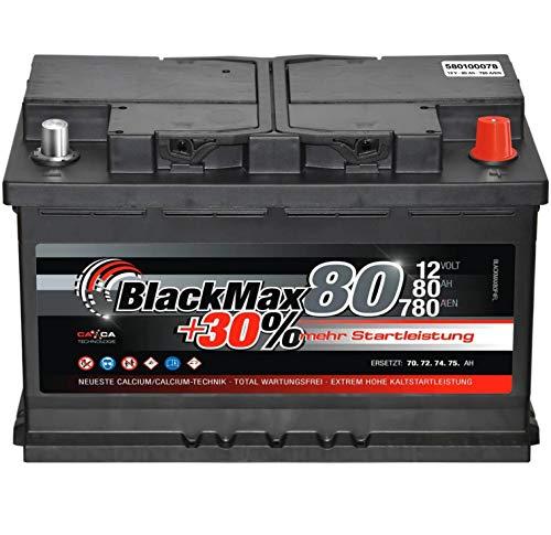 Autobatterie 80Ah 12V BlackMax +30{869aead3f23ef078065d197db938a98c17a5a69ccdd0e7d2d021772a80816ff0} mehr Leistung Starterbatterie ersetzt 72Ah 74Ah