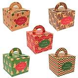 Geschenkboxen Schachteln aus Naturkarton | 5er Set | Premium Recycling Produkt | Die umweltfreudliche Geschenkverpackung Weihnachten