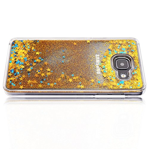 Samsung Galaxy A5 Custodia, Samsung Galaxy A5 2016 PC Back Cover in Plastica Trasparente 3D Glitter Scintillanti Stelle Quick and Mode Liquido Rigido Bling Della Stella Caso Transparent Sottile Anti S Giallo