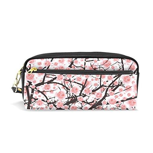 Domoko Pink Cherry Blossom Malerei PU-Leder Pen Pouch Federmappe Fall Make-Up Kosmetik reisen Schule Tasche (Malerei Cherry Blossom)