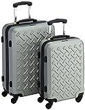 Packenger Reisekoffer Steel 2er-Set M und L in Silber