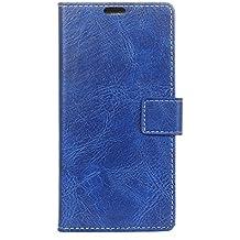 BQ Aquarius E5 Funda, Lifetrut [Flip Wallet fondos] PU de lujo de cuero magnético cartera de la cartera de protección para el BQ Aquarius E5 [azul]