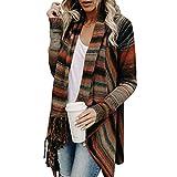 JUTOO Frauen Strickpullover Unregelmäßige Quaste Strickjacke Strickjacke Mantel(Braun,Medium)