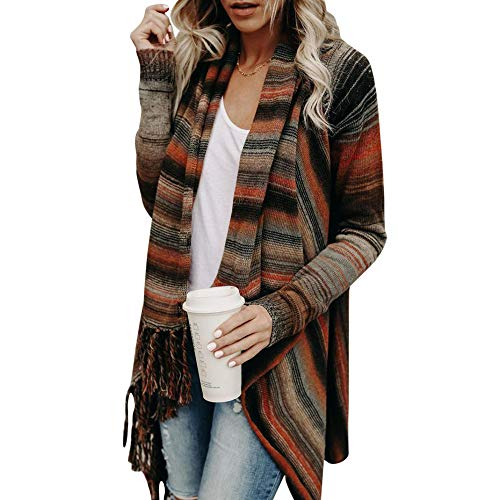 JUTOO Frauen Strickpullover Unregelmäßige Quaste Strickjacke Strickjacke Mantel(Braun,Large)