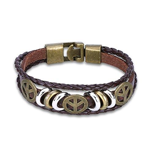 YTTY Unisex Mode Legierung Runde Einfache Häkeln Kette Armband Punk Vintage Woven Leder Frieden Logo Armband, Antike Bronze (Häkeln Logo)
