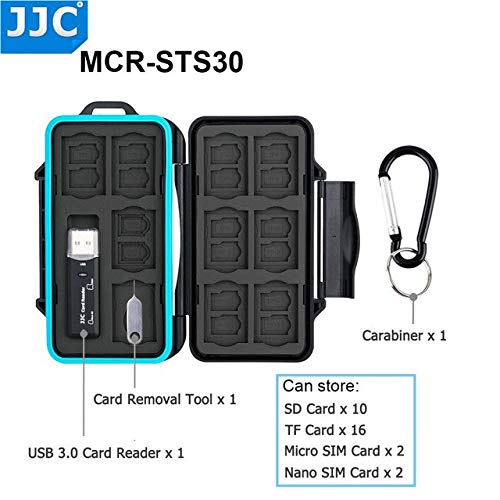JJC Camera Memory Card Storage Water-Resistant Case for SD/Micro SD/TF/Micro SIM/Nano SIM Cards : MCR-STS30