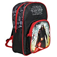 PERLETTI - Star Wars Backpack for Kids - Boys Rucksack with Front Pocket - Kylo Ren Print - Small School Bag for Elementary and Kindergarten - Adjustable Shoulder Straps - 30x23x12 cm