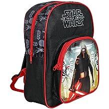 Mochila para niño de Star Wars - Bolso escolar con bolsillo frontal con estampado Kylo Ren - Bolsa para la escuela y la guarderia con tirantes - La guerra de las galaxias - 30x23x12 cm - Perletti