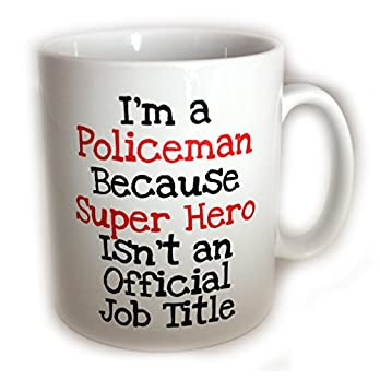 Policeman Super Hero Mug (11oz). Comes with FREE Coffee stencil