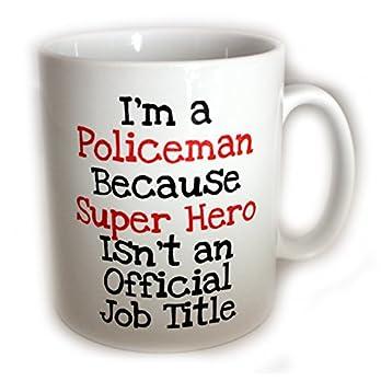 Policeman Super Hero Mug (11oz). Comes with FREE Coffee stencil