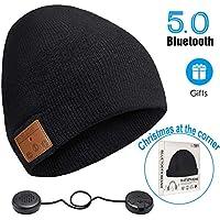 ZRUHIG Berretto Bluetooth Uomo,Senza Fili Beanie Cappello Unisex con Cuffie Stereo e Microfono Vivavoce per Sport all'Aria Aperta, Regali (Nero01)
