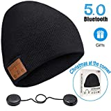 ZRUHIG Bonnet Bluetooth Homme, Bonnet Bluetooth Unisexe Cadeau Musique stéréo Chapeau d'hiver Chapeau sans Fil avec Bluetooth V5.0 Mise à Niveau Convient à Sports, Ski, Patinage, Marche (noir01)