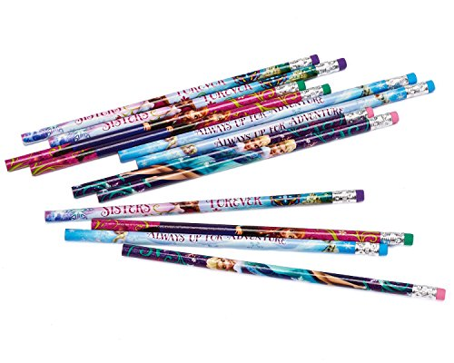 Click for larger image of Amscan 394434 Four Mixed Designs Frozen Pencils with Erasers
