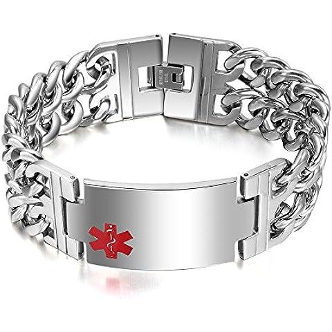 Libre engraving-stainless Acero Pesado Amplio pulseras cadena doble Identificación Médica para Hombres, 8.5