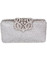 High Quality Dazzling Silver Diamante Encrusted Evening bag Clutch Purse Party Bridal Prom
