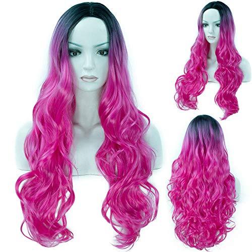 Parrucca rosa rosa, parrucca sintetica riccia lunga ondulata naturale rosa caldo per le parrucche del costume di halloween del partito di cosplay delle donne 009