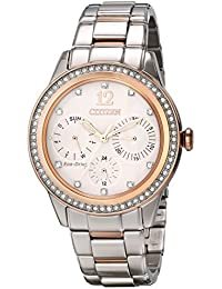Citizen Eco-Drive Women's FD2016-51A Silhouette Crystal Analog Display Two Tone Watch