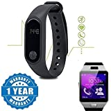 Drumstone Intelligence Smart Band Bluetooth/Heart Rate sensor/Sweat Proof With DZ09 Smart Watch With Camera & Sim Card Support Works with all Android or Iphone Devices (1 Year Warranty, Color May Vary)