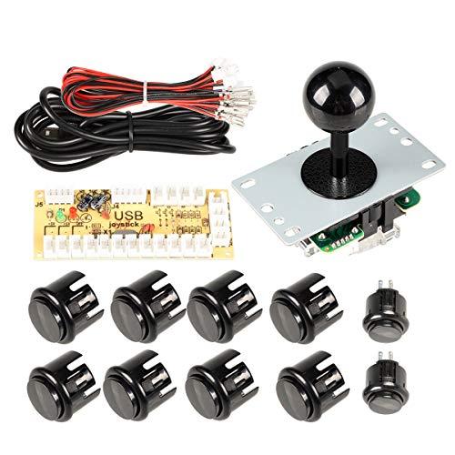 EG STARTS Null Verzögerung Arcade DIY Griff Kit Teile USB Encoder zu PC Spiele 5 Pin Joystick + 24mm 30mm Druckknöpfe Für Arcade Schrank Mame & Himbeere pi 2 3B Modell Projekt (Schwarz)