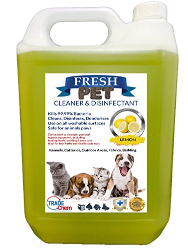 Trade Chemicals Fresh Pet Kennel/Cattery Cleaner & Disinfectant - Kills 99.99% Bacteria - Eliminates Odour (Lemon Fresh)
