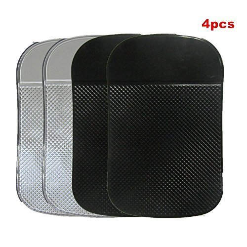 ANEWSIR 4x Auto Antirutschmatten, Car Holder Adhesive Mat [2 Schwarz + 2 Transparent] Anti Rutsch Matte Silikon Mat Armaturenbrett Sticky Pad für Handy, Elektronische Geräte, iPod, Keys, GPS, etc.