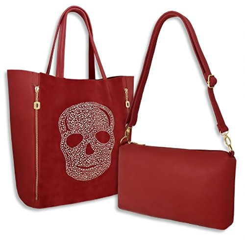Eyecatch Tm - Borsa A Tracolla E Borsetta Da Donna In Similpelle 2 In 1, Marrone Rossiccio Marrone Chiaro