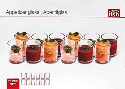 g, puristisches Design, zylindrisch, klares Glas, Größe ca. 6 x 5 cm (Schnapsglas Desserts)