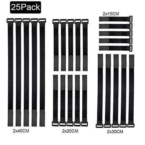 Fascette Velcro,Fascette Cavi, 25pcs fascette per cavi riutilizzabili fissaggio filo organizzatore corda cavo titolare