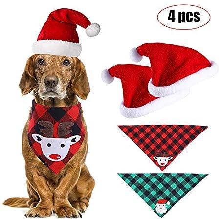 Movein Haustier Halstuch, Bandana für Hund, 2 Stück Haustier Weihnachtsmütze und 2 Stück Kariertes Hundehalstuch, für…