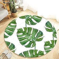 Scrolor Runder Teppich Sitzkissen für Wohnzimmer Tropische Pflanze Blätter Muster Badezimmer Küche Teppiche Durchmesser 80 cm(Grün E,Durchmesser 80 cm)