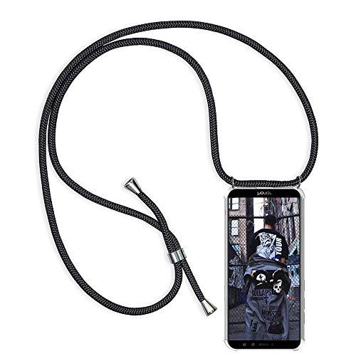 Handykette kompatibel mit Huawei Honor 9 Lite, Schutzhülle Smartphone Necklace Hülle mit Band Handyhülle Transparent Weich TPU Silikon Relief Vier-Ecken Starke Stossfest Hülle - Schwarz
