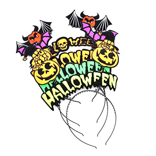 Amosfun Halloween Stirnband Happy Halloween Party Haarband Süßes oder Saures Kostümzubehör (Kürbis + Hexe + Fledermaus + Totenkopf) (Halloween Happy Frisur)