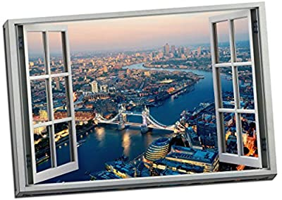 Classic London Aerial View 3D Window Effect Canvas Print Picture Wall Art Large 30x20 Inches - cheap UK canvas shop.
