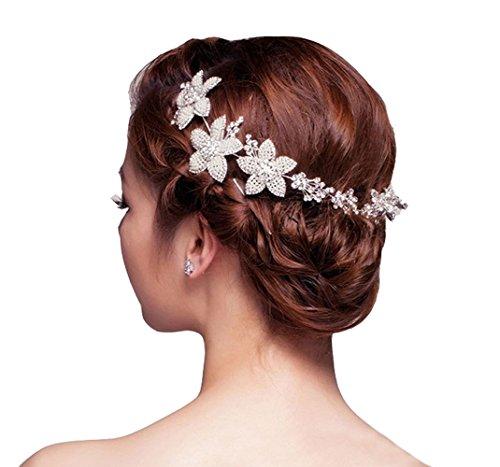 Dayiss® Fünf Blättern Blüten Strass Haarschmuck mit Diamant Rhinestone-Kristall-Blumen-Brauthochzeits -Stirnband